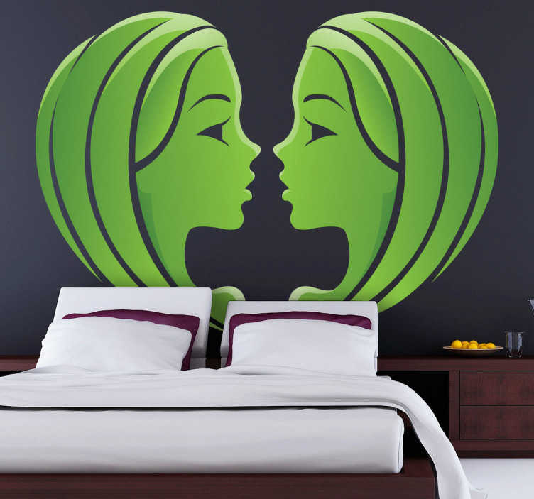 TenStickers. Gemini Zodiac Sign Wall Sticker. A star sign wall sticker illustrating the Gemini Gemini sign. Ideal horoscope sticker for those born between May and June. Stunning green design of the two Gemini twins facing each other to give your bedroom a touch of style and personality.