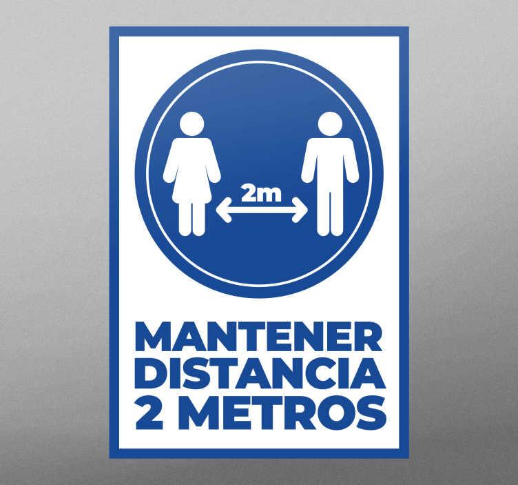 TenVinilo. Vinilo distancia seguridad mantener 2 metros. Vinilo distancia seguridad 2 metros para cualquier puerta o para la pared. Disponible en cualquier tamaño ¡Envío a domicilio!