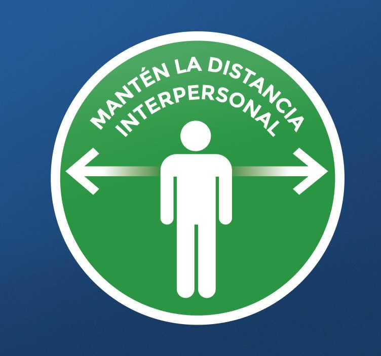 TenVinilo. Vinilo distancia seguridad verde redonda. Vinilo distancia seguridad verde redonda para colocar en la pared o puerta para crear conciencia de distancia segura ¡Envío a domicilio!