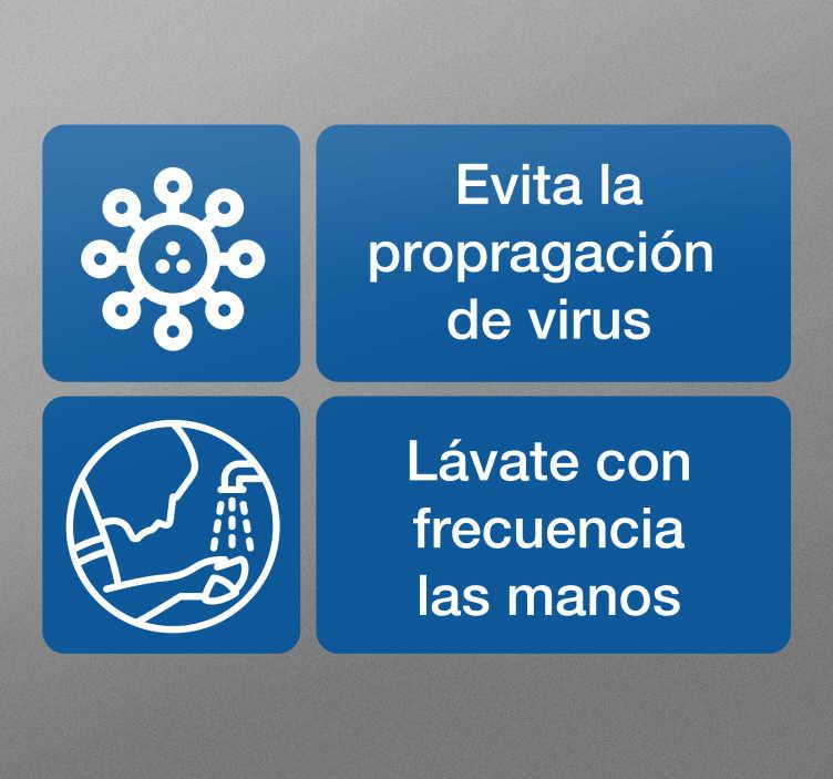 TenVinilo. Vinilo advertencia Covid-19 lavado de mano. Vinilo advertencia de covid 19 que se lava a mano para colocar en puertas y paredes en el hogar y en lugares públicos. Elige el tamaño