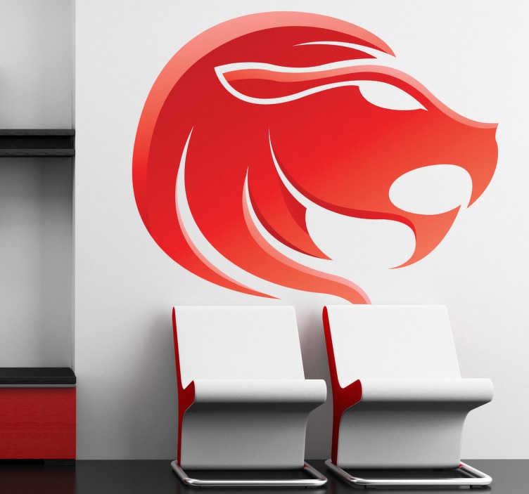TenStickers. Naklejka znak astrologiczny lew. Naklejka na ścianę z kolekcji znaki zodiaku. Obrazek przedstawia głowę lwa w odcieniach czerwieni.
