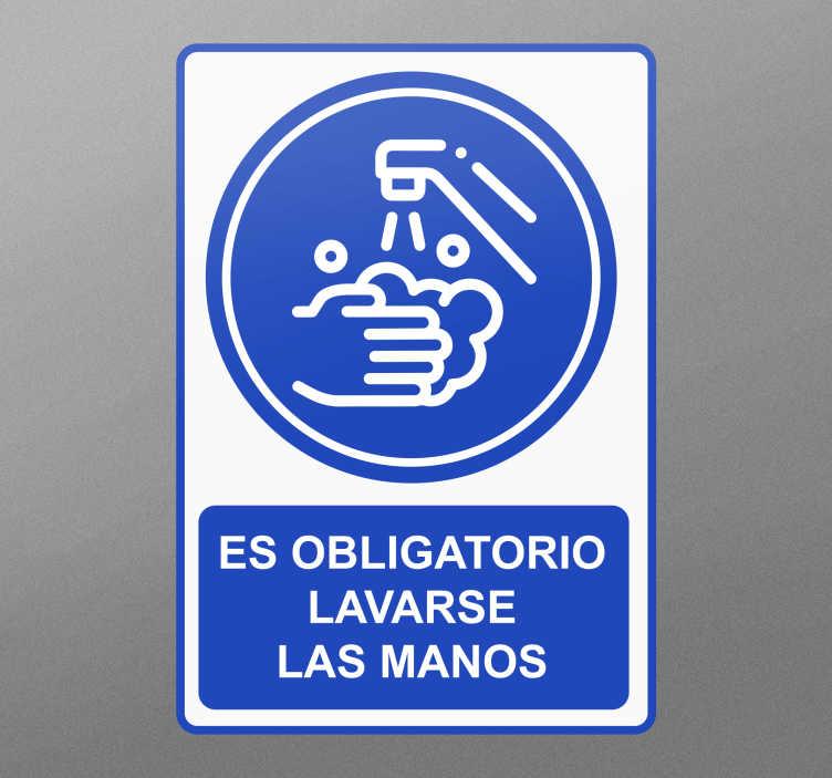 TenVinilo. Señalética autoadhesiva lavado de manos obligatorio. Pegatina advertencia de lavado a mano creada con la imagen impresa de diseño de lavado de manos. Está disponible en cualquier tamaño
