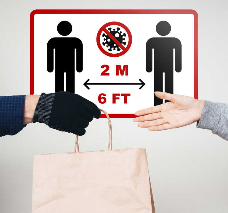 TenStickers. Safety distance signage sign sticker. Safety distance iconic signage for public and business place. It is designed with the distance measurement to keep safe healthy distance.