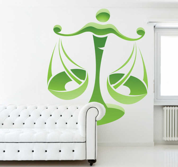 TENSTICKERS. Libra zodiac sign壁のステッカー. 9月23日と22日の10月22日に生まれた人のためのlibraの星座のデカール。あなたがlibraならこの星占いのステッカーはあなたのためです!正義の象徴的なスケールの緑色のデザインが魅力的で、すべてをバランスよく公正にしています。