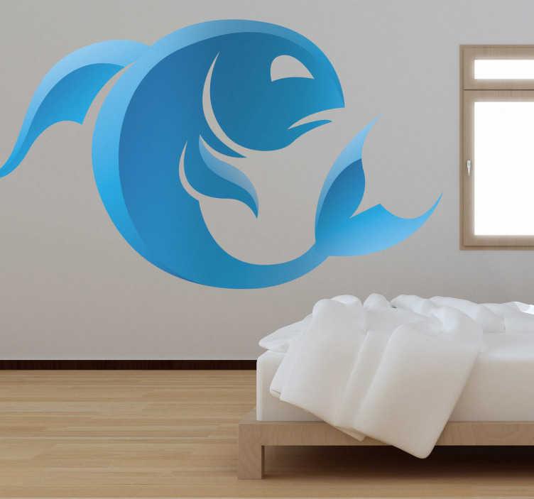 TenStickers. Naklejka znak astrologiczny ryby. Naklejka na ścianę reprezentująca znak zodiaku ryby w odcieniach niebieskiego. Prosty i szybki sposób na dekorację pustych ścian w pokoju.