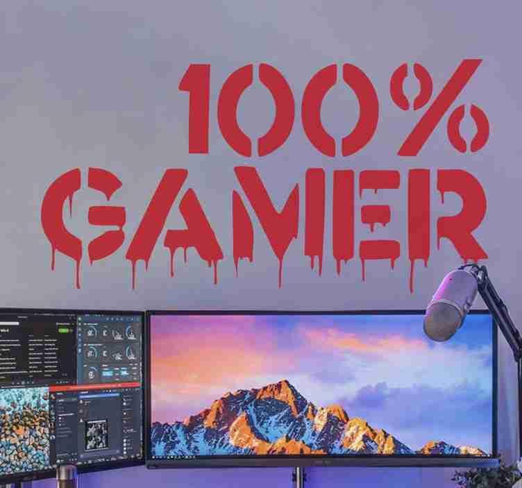 TenStickers. Wandtattoo Videospiel 100% Gamer Graffiti. Videospiel Wandtattoo , um den Raum der Teenager zu schmücken. Es enthält den Textinhalt 100% Gamer in Graffiti Textur.