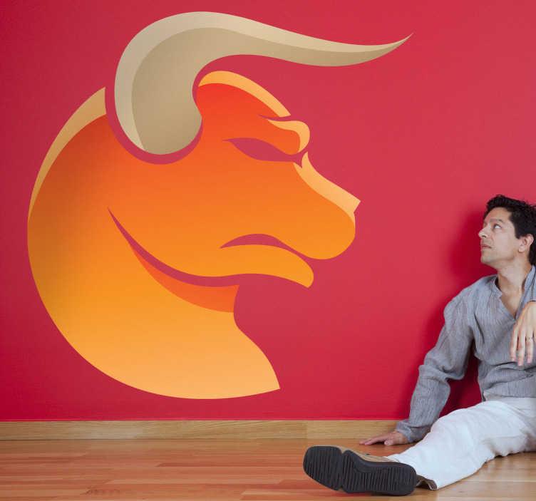 TenStickers. Adhésif mural signe taureau. Stickers mural représentant le signe astrologique du taureau.Idée déco originale pour n'importe quelle pièce de votre intérieur.