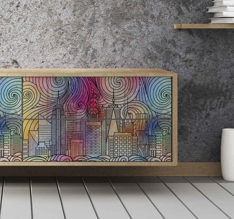 TenVinilo. Vinilo mueble ciudad de pintura. Una increíble vinilo muebles de ciudad pintada para decorar cualquier superficie de muebles con estilo. Elige tamaño ¡Envío a domicilio!