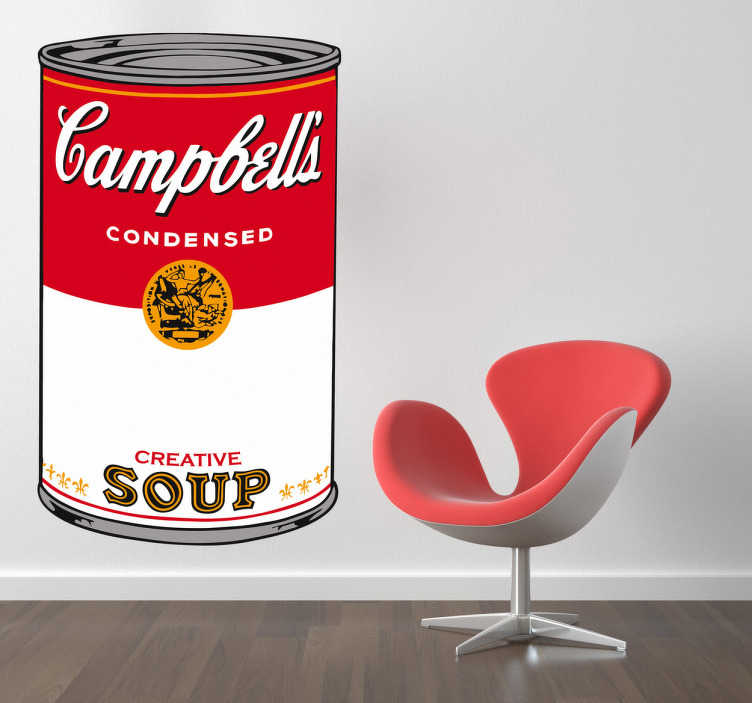 TenVinilo. Vinilo sopa Campbell´s. Adhesivo vintage de la lata de sopa Campbell´s, convertida en una obra de arte por el famoso artista Andy Warhol. Una decoración llena de color y originalidad. Vinilos retro de aire pop para decorar las paredes de tu hogar.