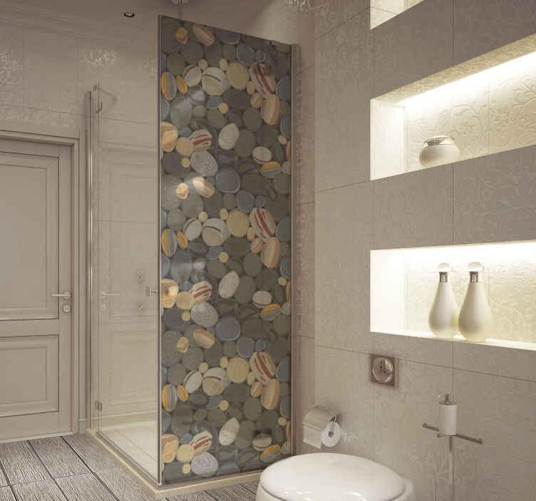TENSTICKERS. 石造りのシャワー画面のステッカー. カラフルな装飾用の石のテクスチャで作られたシャワースクリーンビニールデカール。適用は簡単で、必要なサイズで利用できます。