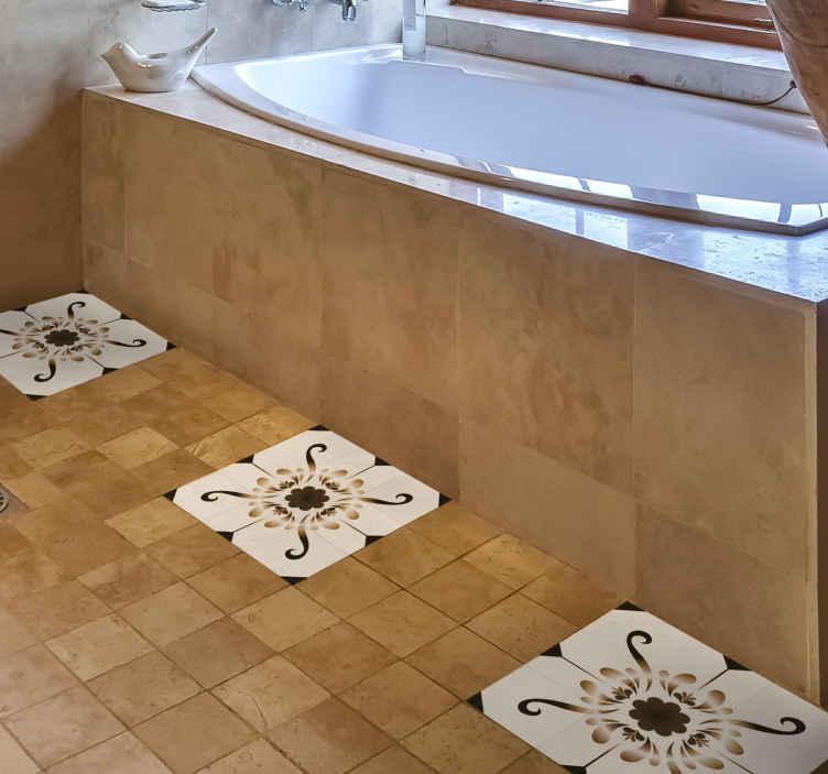 TENSTICKERS. パターンビニールステッカーフロアタイルデカール. 床面をスタイリッシュにカバーする模様入りタイルフロアステッカー。粘着性があり、メンテナンスが簡単です。必要なサイズで購入してください。