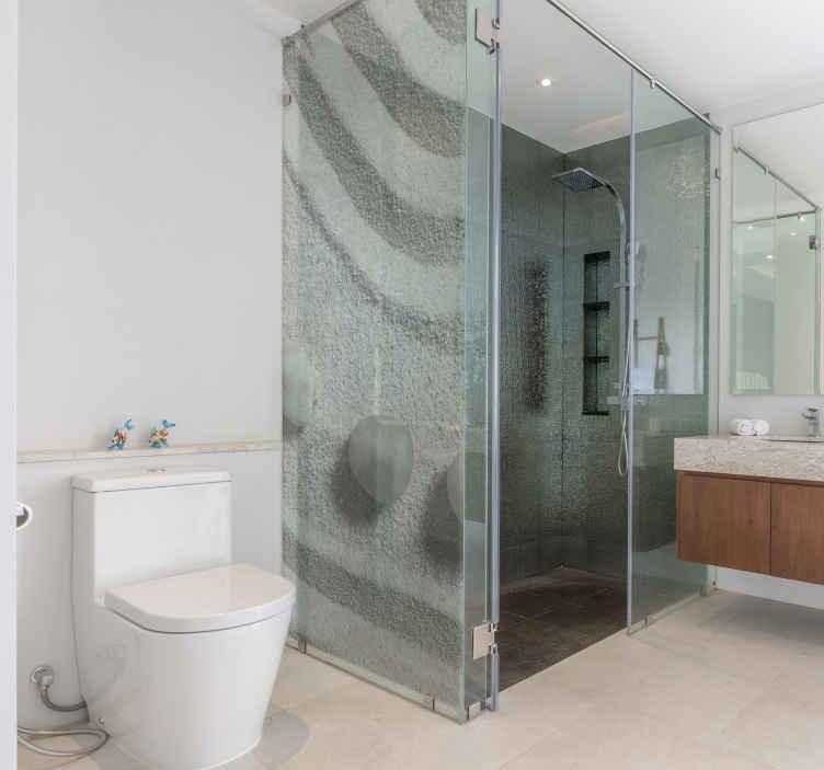 TENSTICKERS. エンクロージャ禅パス砂シャワーデカール. 禅パスと砂の装飾的なシャワースクリーン壁デカールデザイン。バスルームのシャワードアスペースのための上品でユニークな装飾。
