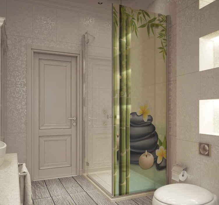 TenVinilo. Vinilo para mamparas de ducha piedras negras zen. Vinilo mamparas de baño zen piedras negras para crear un elegante espacio de baño en el hogar. Tamaño personalizable ¡Envío a domicilio!