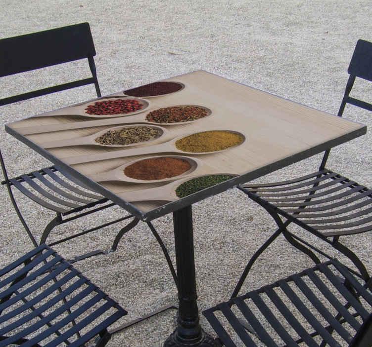 TenStickers. Vinil para móveis Mesa. Decore a mesa no espaço doméstico ou no espaço comercial, este vinil autocolante decorativo de móveis para colheres de tempero de cozinha. Está disponível em qualquer tamanho necessário.