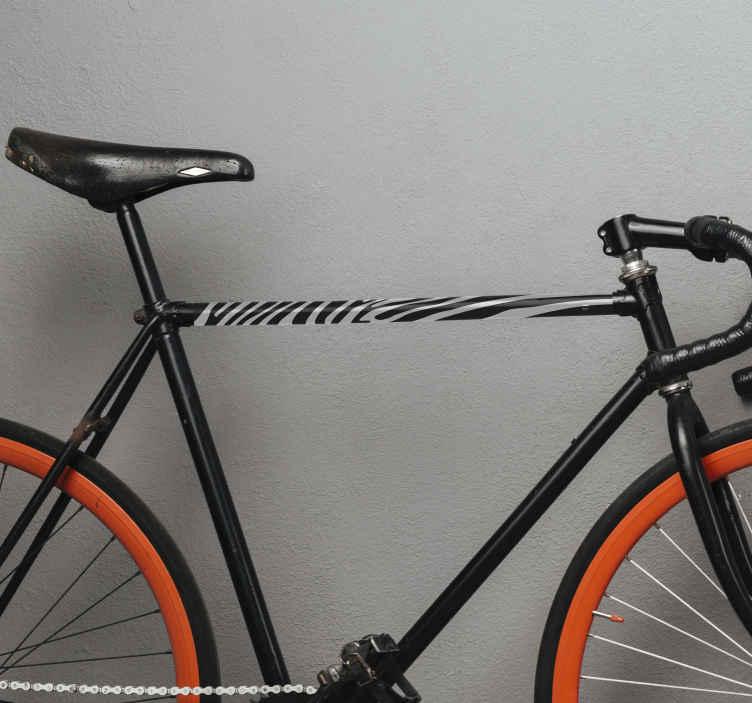 TenVinilo. Pegatina bicicleta imitación de piel de cebra. La pegatina bicicleta de piel de cebra será increíble en tu bicicleta y a todos les encantará. Elige tamañi. Fácil colocación ¡Envío a domicilio!