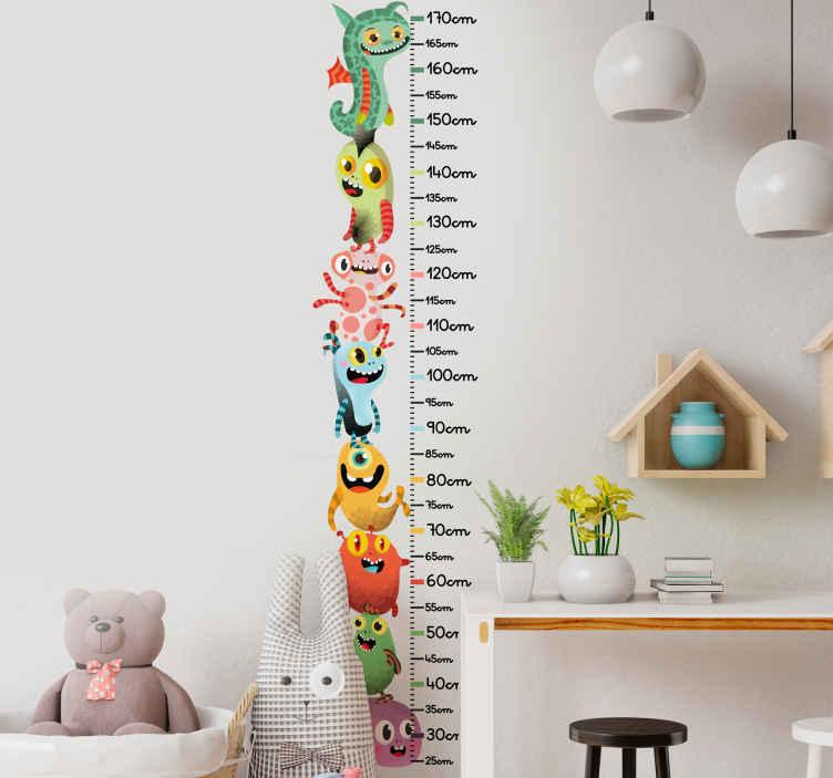 TenVinilo. Vinilo infantil medidor pila de monstruos. Vinilo infantil medidor de monstruos coloridos para el espacio de la habitación de los niños. Es adhesivo y fácil de colocar ¡Envío a domicilio!