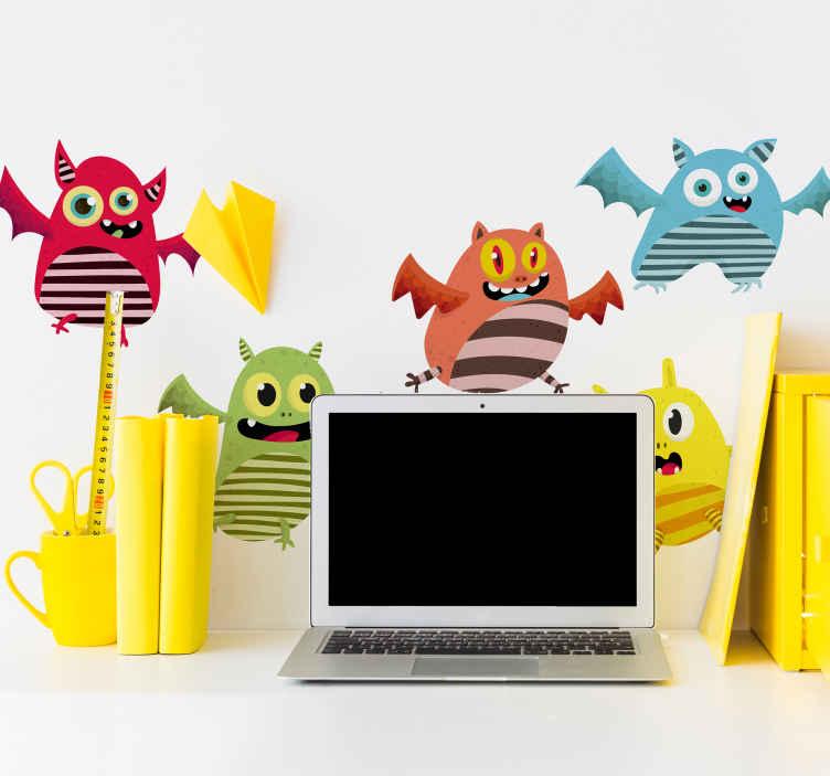 TENSTICKERS. フライングモンスターモンスターデカール. 驚くほどスリリングな子供向けのモンスターウォールアートステッカーで、子供たちのスペースを飾りましょう。適用は簡単で、必要なサイズで利用できます。