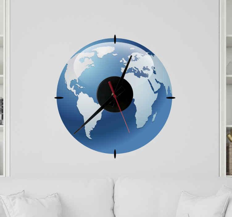 TenVinilo. Reloj vinilo pared efecto agua mapamundi. Reloj vinilo pared efecto agua mapamundi original que te recordará que es hora de viajar ¡El diseño de océanos y continentes azules será perfecto!