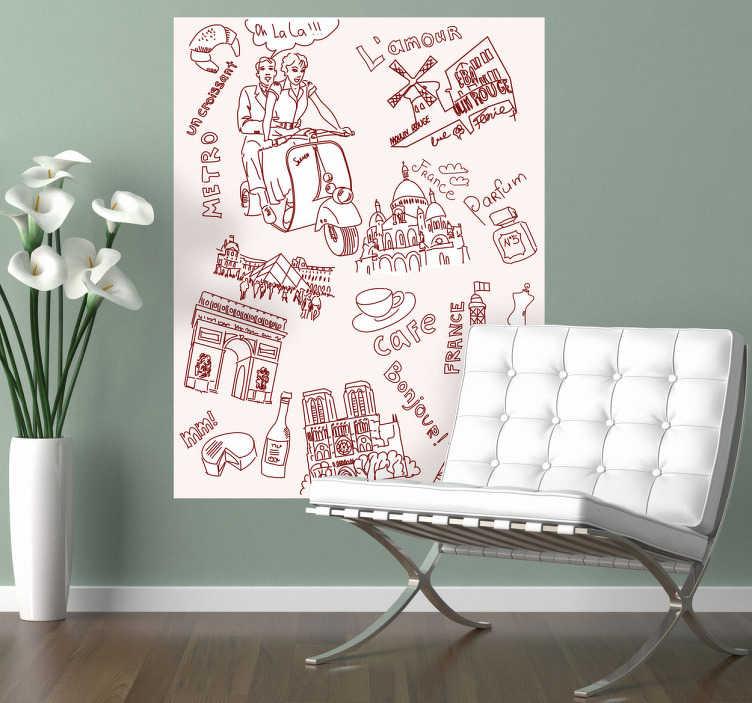 TenStickers. Naklejka dekoracyjna rysunki z Paryża. Ozdób Swój pokój ciekawą naklejką, która przedstawia najpopularniejsze symbole Francji.