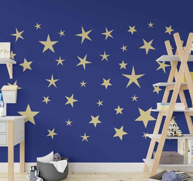 TENSTICKERS. スターシートスペースデカール. 子供のためのスペースを飾るための星のシートスペースウォールステッカー。必要なサイズで入手でき、自己粘着性があります。