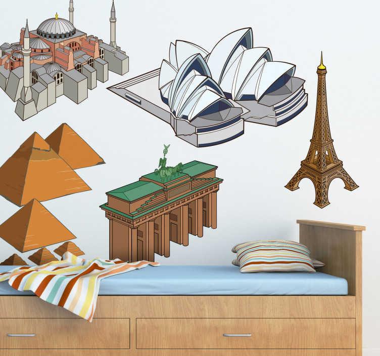 TenStickers. Naklejka dekoracyjna słynne budowle. Fantastyczna naklejka dekoracyjna, która łączy w sobie najbardziej znane budowle na świecie: Piramidy w Kairze, Haga Sophia w Stambule, budynek opery w Sydney, Bramę Brandenburską w Berlinie i wieżę Eiffla w Paryżu.