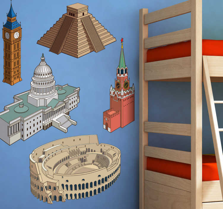 TenStickers. Monumental Buildings Decal Collection. Decals - A collection of wall stickers based on famous monuments from around the world. USA, Great Britain, Mexico, Russia and Italy.