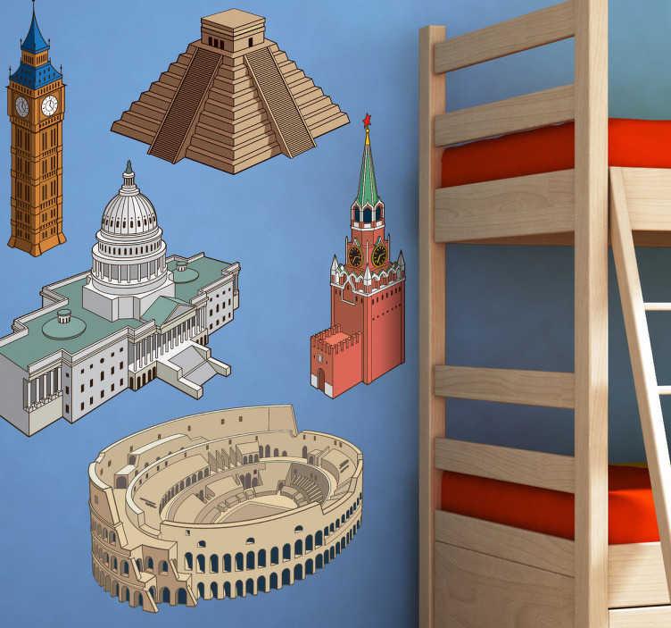 TenStickers. Sticker Set Monumente. Dekorieren Sie das Kinderzimmer mit diesem schönen Wandtattoo, dass berühmte Sehenswürdigkeiten aus verschiedenen Städten zeigt.
