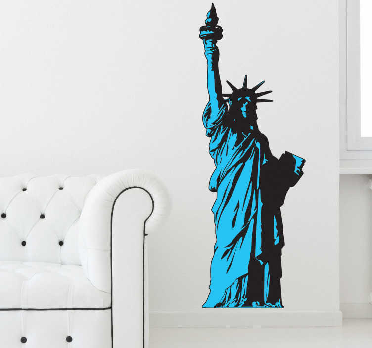TenStickers. Sticker Statue of Liberty Manhattan. Een leuke muursticker met hierop het Vrijheidsbeeld in New York afgebeeld. Decoreer uw kale muren in uw woning met deze interieursticker.