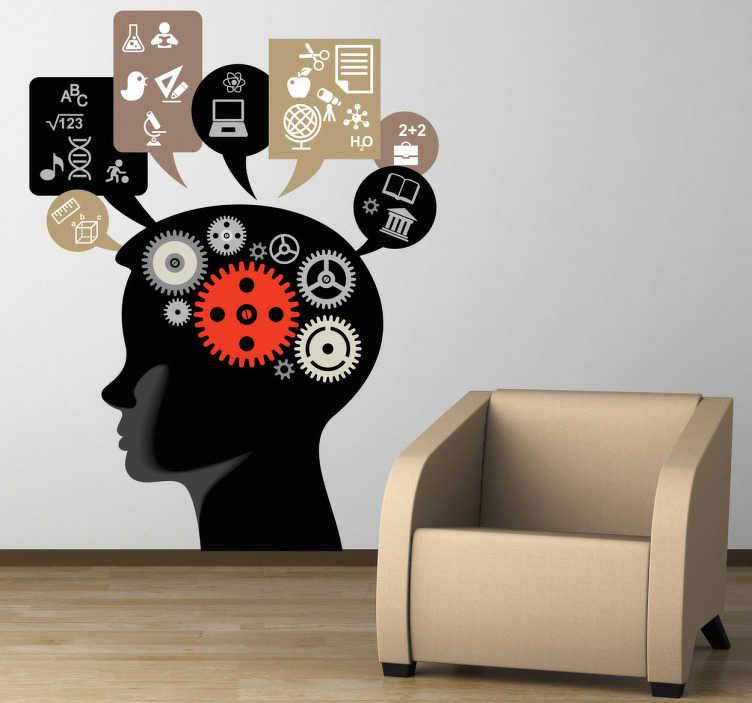 TenStickers. 두뇌 작업 벽 스티커. 한 번에 여러 가지 것을 생각할 때 마음이 어떻게 작동하는지 보여주는 장식용 스티커.