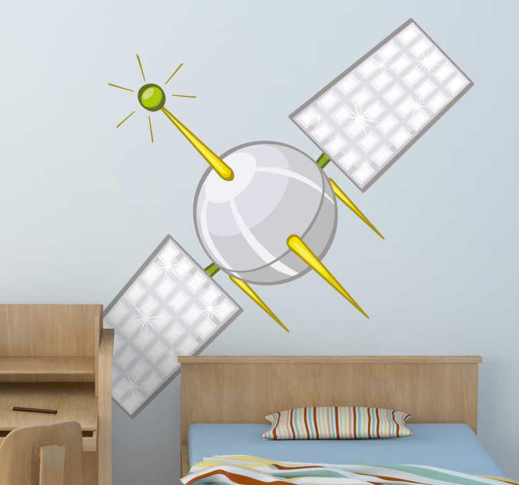 Tenstickers. Klistermärke för satellitbarn. Barnväggklistermärken - rolig vektordesign av en satellit. Förvandla väggarna till rymden och låt denna satellit kretsa runt rummet.