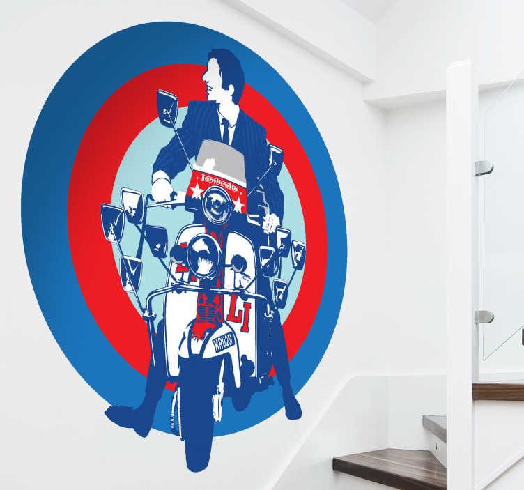 TenStickers. Naklejka motocykl z lat 60. Jesteś fanem muzyki z lat 60? Lubisz The Who? Podoba Ci się styl Mods?