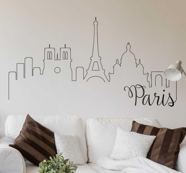 TenVinilo. Vinil decorativo postales de París. Decora las paredes de tu hogar con este set de adhesivos de tres postales de aires vintage inspirados en la ciudad del Sena.