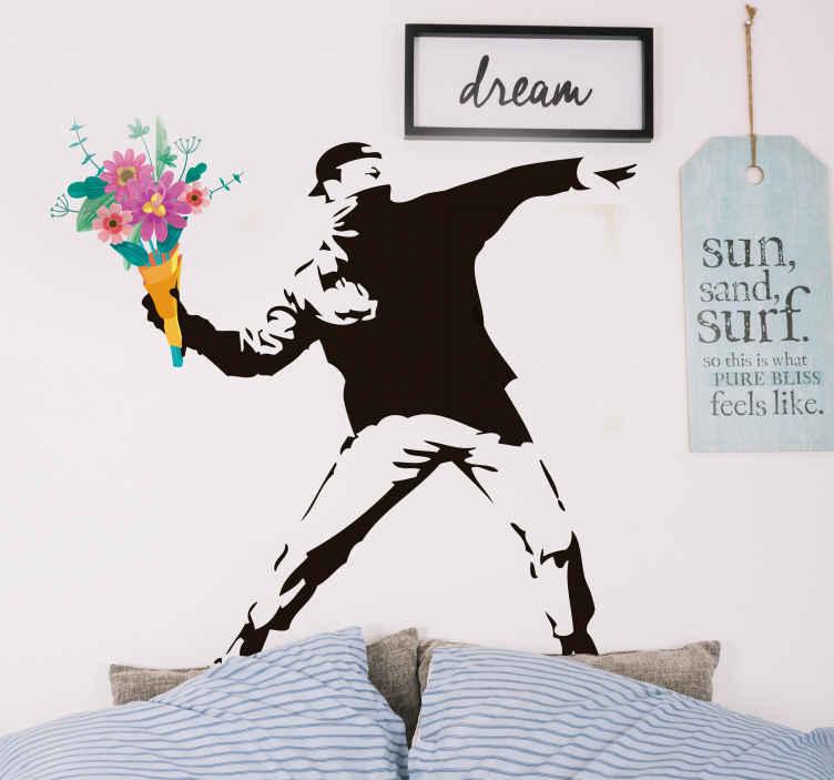 TenVinilo. Vinilo obra de arte flores revolución Banksy. Vinilo obra de arte flores revolución Banksy de imagen de revolución Banksy. Está disponible en cualquier tamaño. Alta calidad ¡Envío a domicilio!