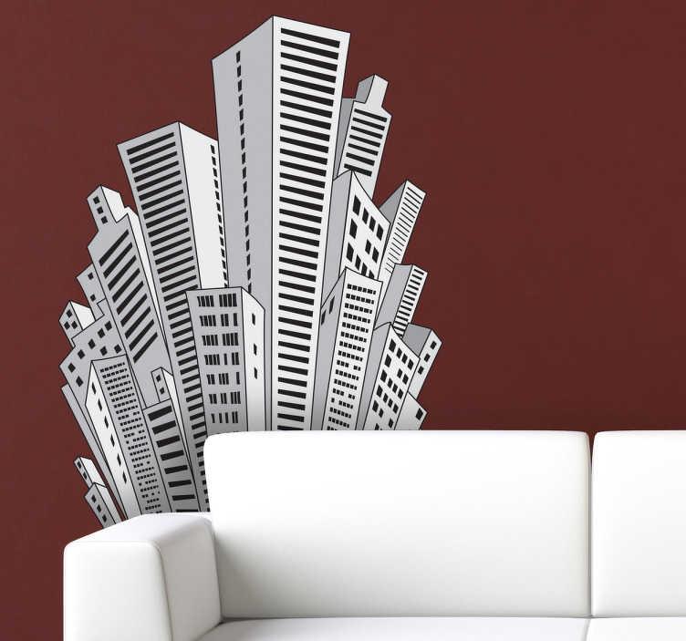 TenStickers. Sticker tekening Wolkenkrabbers. Muursticker met een tekening van enkele wolkenkrabbers zoals in de grote steden als New York en Hong Kong. Originele wanddecoratie voor uw woning.