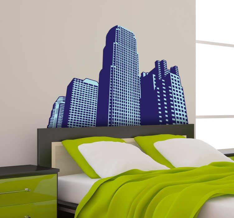 TenStickers. Autocollant mural gratte ciel. Stickers mural illustrant la vue sur d'immenses grattes-cielSélectionnez les dimensions et la couleur de votre choix.Idée déco originale et simple pour votre intérieur.