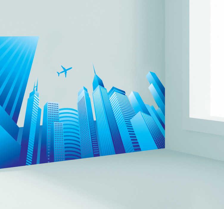 TenStickers. Naklejka dekoracyjna miasto i przelatujący samolot. Naklejka dekoracyjna w formie fototapety, która przedstawia miasto widziane od dołu i przelatujący nad wieżowcami samolot. Całość jest utrzymana w kolorze niebieskim.