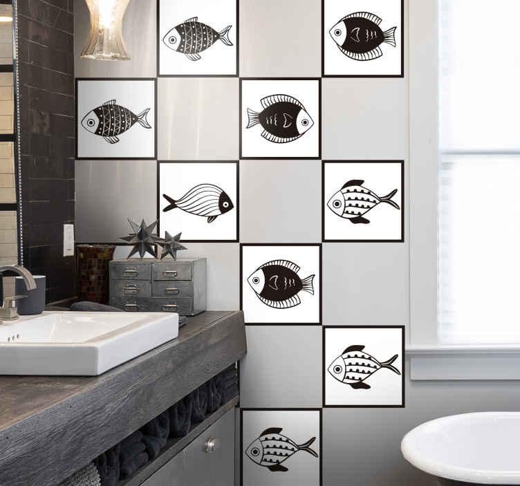 TENSTICKERS. 美しい魚柄のタイル転写デカール. タイルスペースのユニークで素晴らしい魚パターンステッカーデザインでバスルームスペースに命を吹き込みましょう。適用は簡単で、どのサイズでも利用できます。