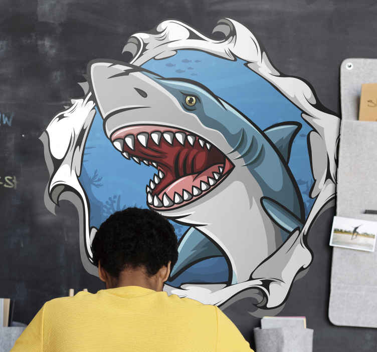 TenStickers. Big shark 3D visual effects wall decal. Buy our 3D shark fish wall sticker with the design appearance of it emerging from the blue sea. It is easy to apply and comes in any size needed.