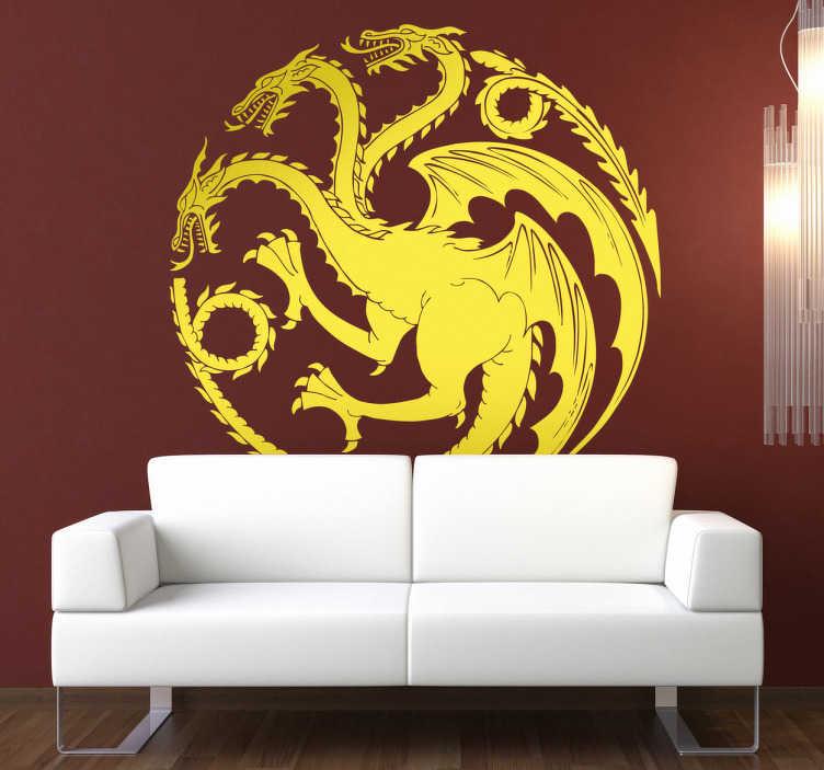 TenStickers. Sticker Targaryen Games of Thrones. Een prachtige muursticker ter illustratie van een drie-koppige draak in een cirkelvorm, een icoon van Targaryen,