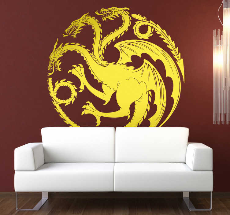 TenVinilo. Vinilo decorativo Targaryen juego tronos. Vinilo representado en forma circular con un dragón de tres cabezas, icono característico de la casa Targaryen de la famosa serie de HBO.