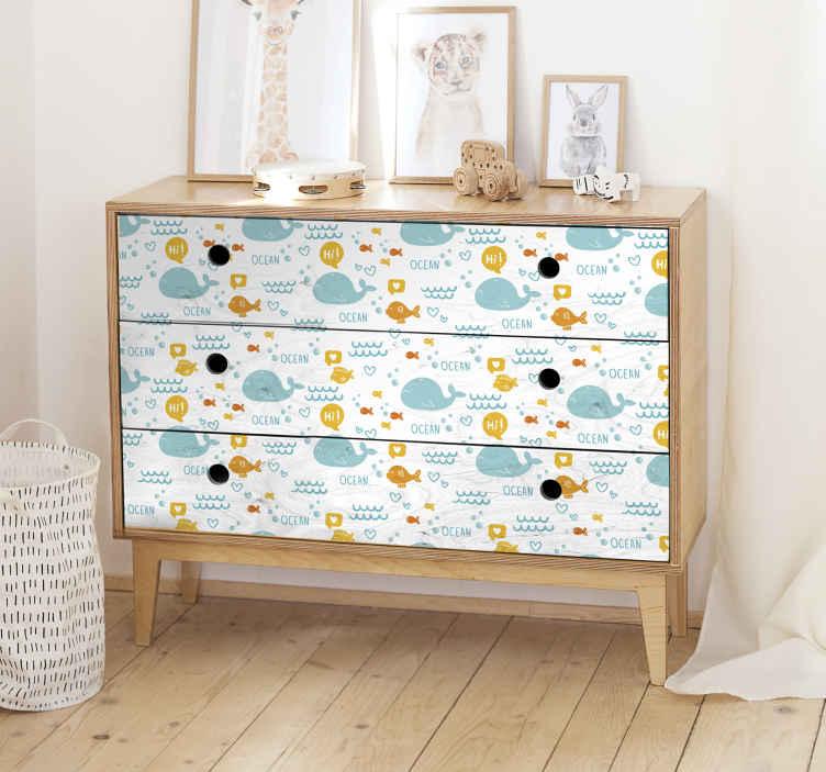 TenStickers. Klebefolie für Möbel Bunter und glücklicher Ozean. Ein idealer dekorativer Möbelaufkleber für Kinderzimmer Möbel mit Ozeanleben Design. In jeder Größe erhältlich und leicht aufzutragen.