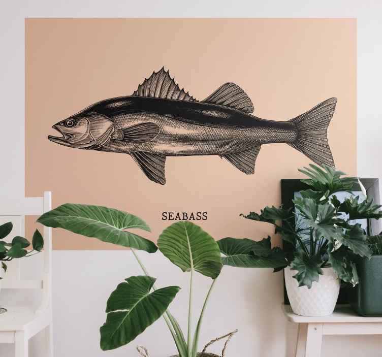 TenStickers. Muursticker zeebaars hand tekenen. Een bijzondere decoratieve zeebars muursticker in een realistische uitstraling. Het is gemaakt van hoge kwaliteit en gemakkelijk aan te brengen.