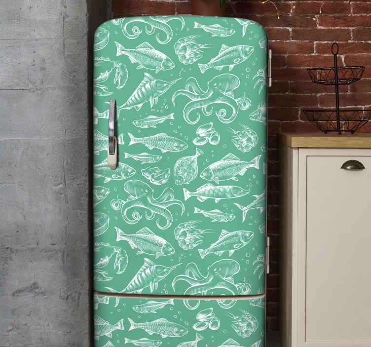 TENSTICKERS. スケッチの魚手描画冷蔵庫ラップデカール. 高品質のビニールで作られたオリジナルの手描きの魚の冷蔵庫デカールで冷蔵庫のドアスペースを飾ります。貼り付けが簡単で自己粘着性があります。