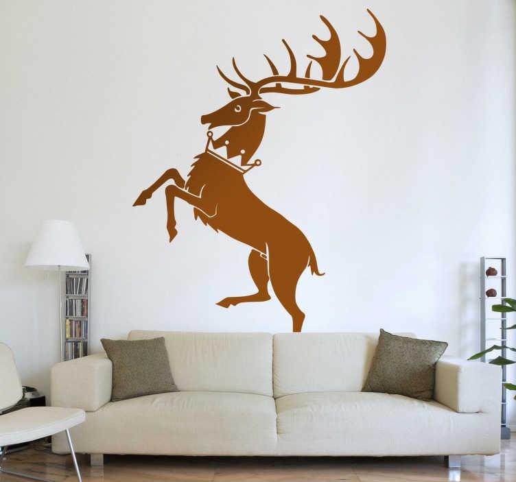 TenVinilo. Vinilo decorativo Baratheon juego tronos. Vinilo con la imagen sintetizada de un ciervo, característica de la poderosa casa de los Baratheon, uno de las tantas familias que luchan por el poder en la famosa serie de la HBO.