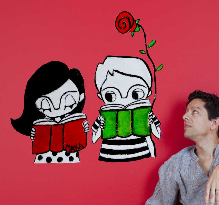 TenStickers. Kids with Book and Rose Decorative Sticker. A decorative decal of an original illustration by MAKA, where we can see two kids reading and one of them holds a red rose.