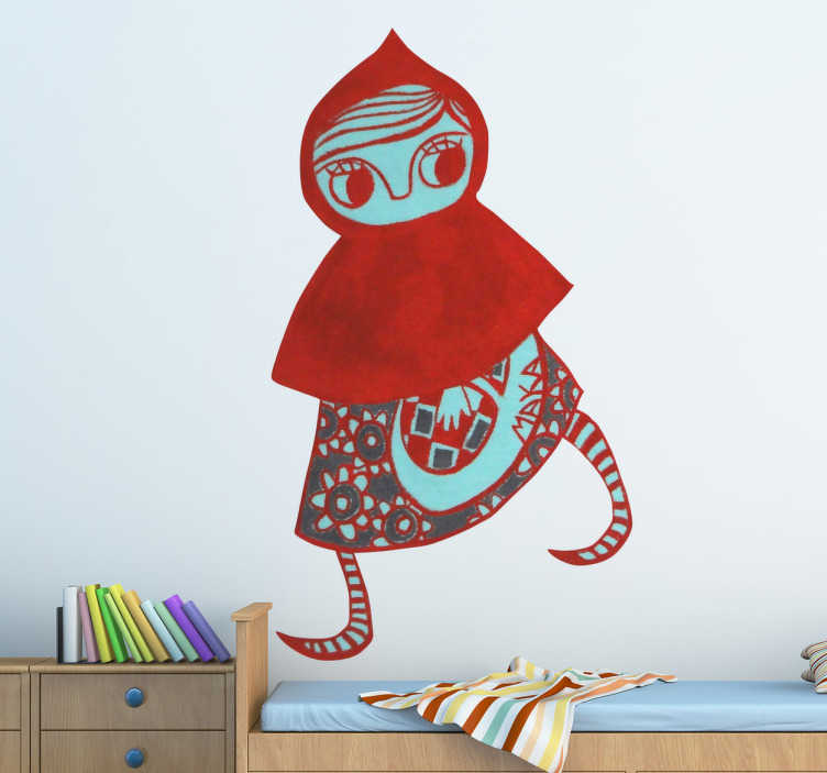 TenStickers. Sticker kinderen Roodkapje. Een leuke en unieke muursticker met hierop Roodkapje afgebeeld. Een leuke en originele sticker ontworpen door de Catalaanse kunstenaar MAKA.