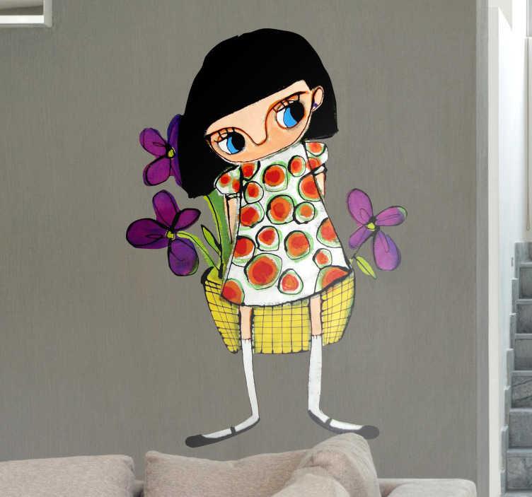 Sticker decorativo ragazza con fiori