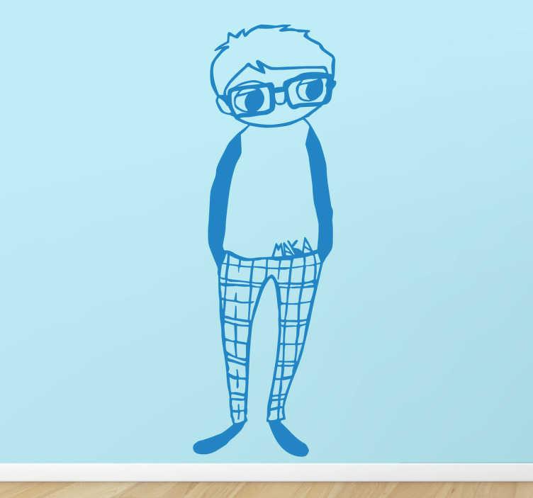 TenStickers. Sticker decorativo ragazzo hipster. Adesivo murale che raffigura un giovanotto con gli occhiali, vestito con abiti di stile smart-casual. Basato su un disegno originale di MAKA.