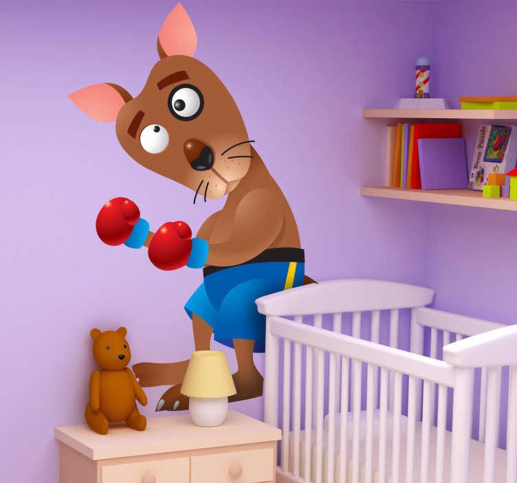 TenStickers. Naklejka dziecięca kangur bokser. Śmieszna naklejka dekoracyjna dla dzieci, przedstawiająca kangura w boskerskich rękawicach. Oryginalna ozdoba do pokoju Twoich najmłodszych.