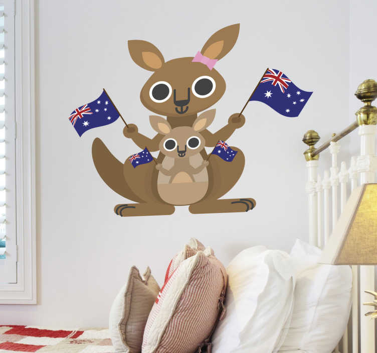TenStickers. Naklejka dla dzieci kangur. Naklejka na ścianę przedstawiająca uroczego kangura. Dzięki naszej naklejce dekoracyjnej Twoje dziecko już nigdy nie będzie się czuło samotnie w pokoju.
